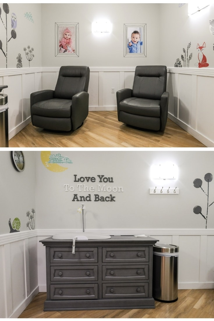 two recliners and a changing table in nursing room at buy buy baby