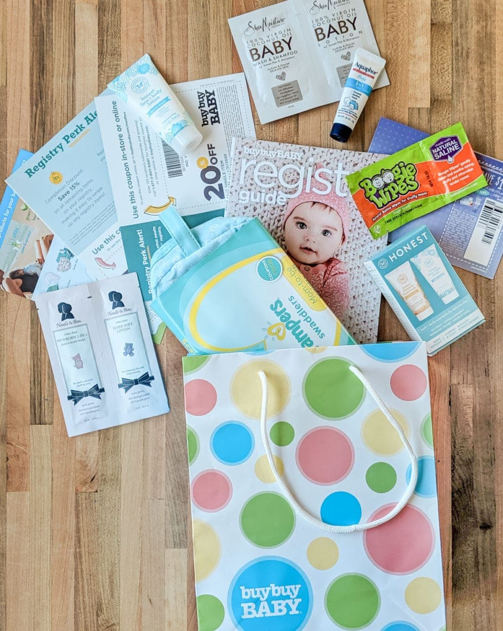 overhead shot of freebies included in buy buy baby goody bag