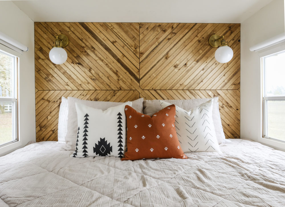 rv bedroom built in headboard wood accent wall