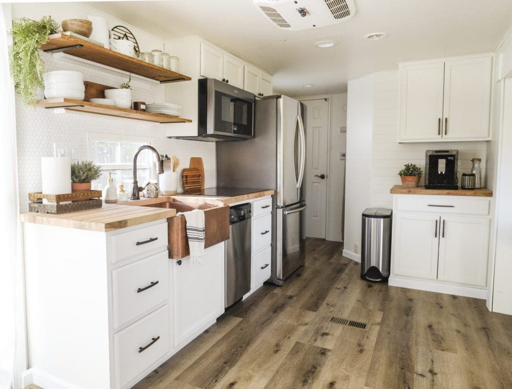 RV kitchen after a full remodel with residential appliances