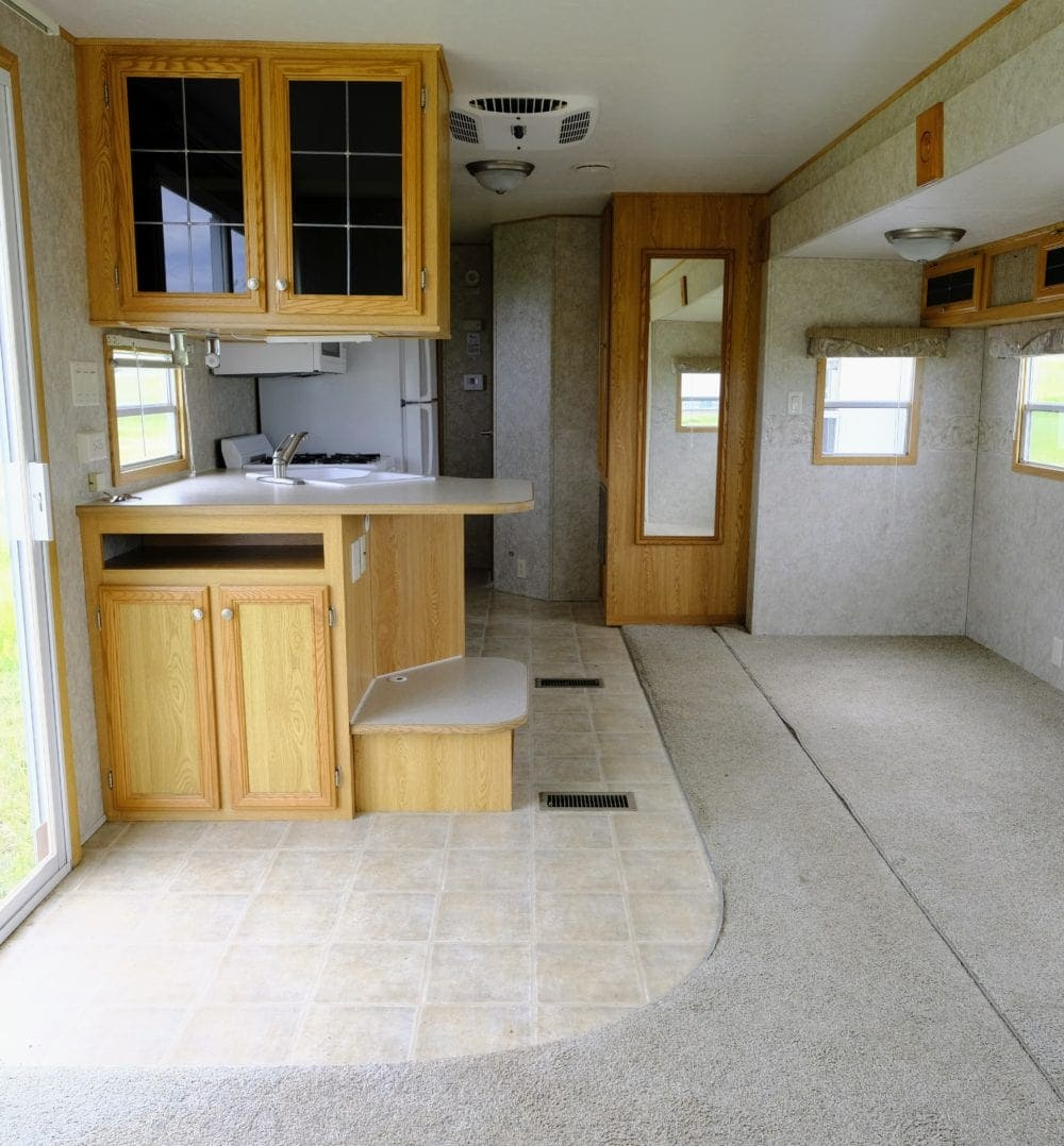cheap RV flooring before the remodel