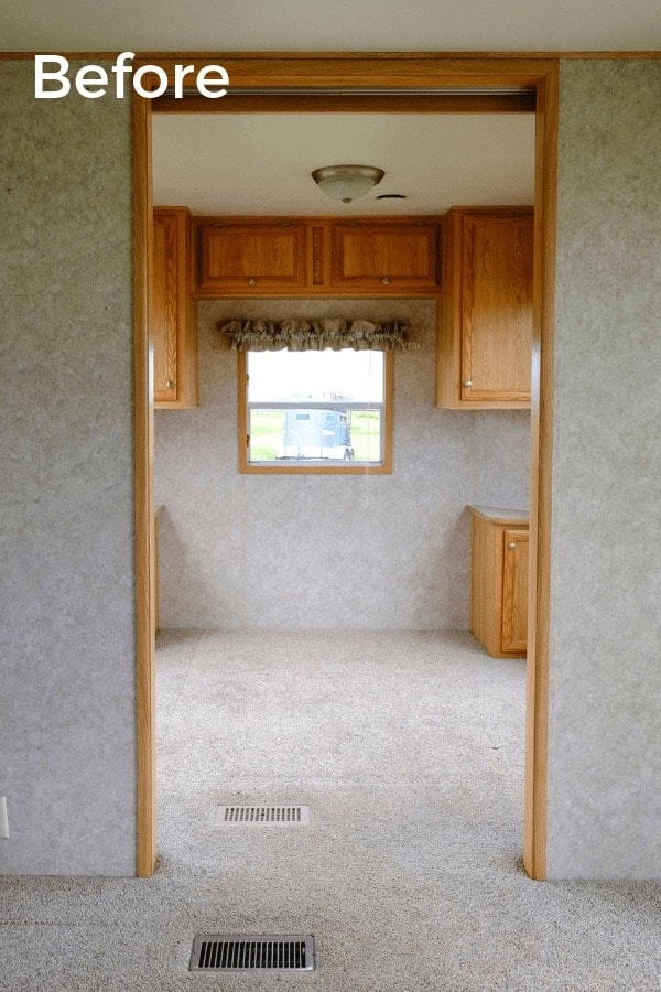 a RV window with valance and blinds