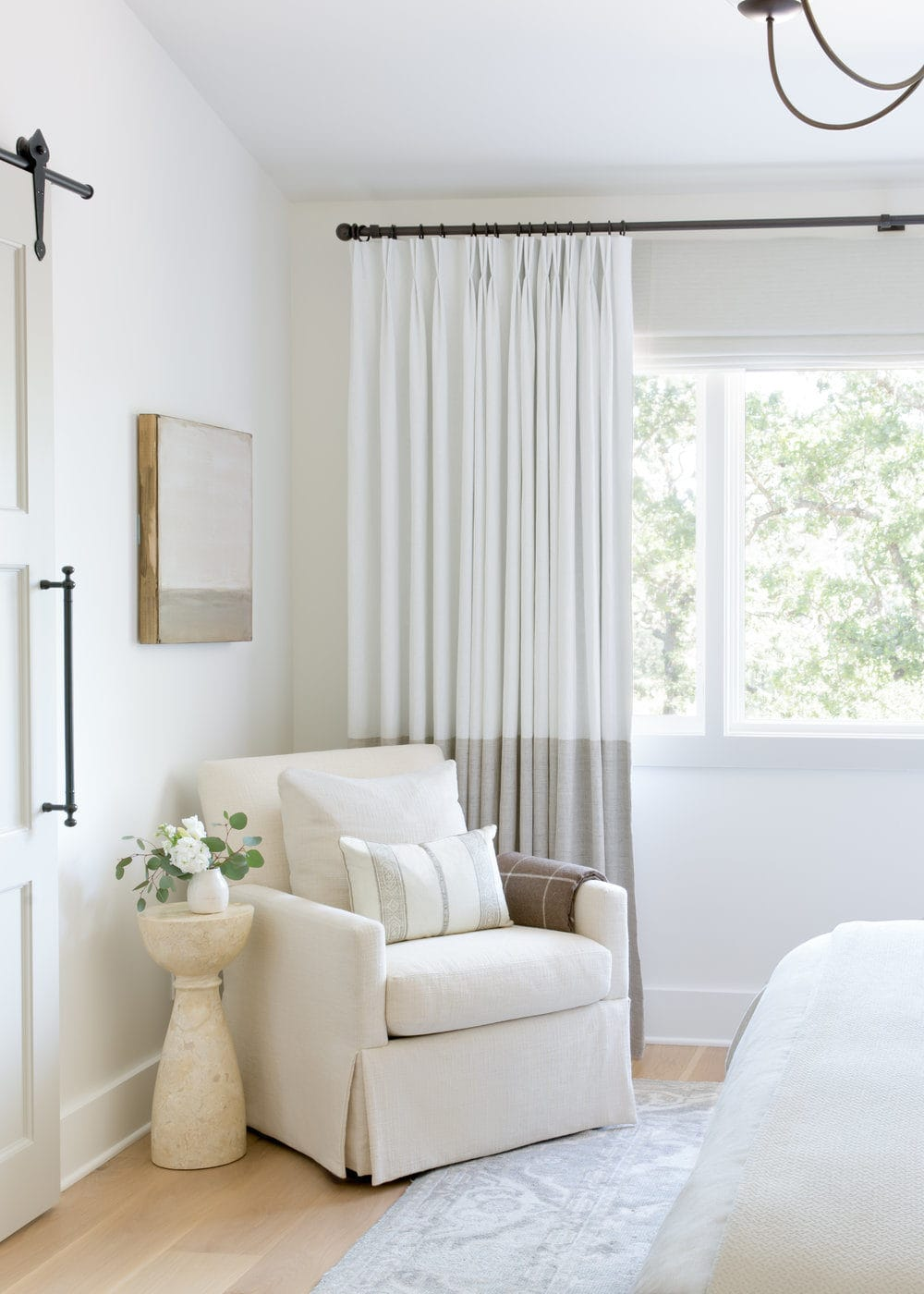 white curtains in a bedroom