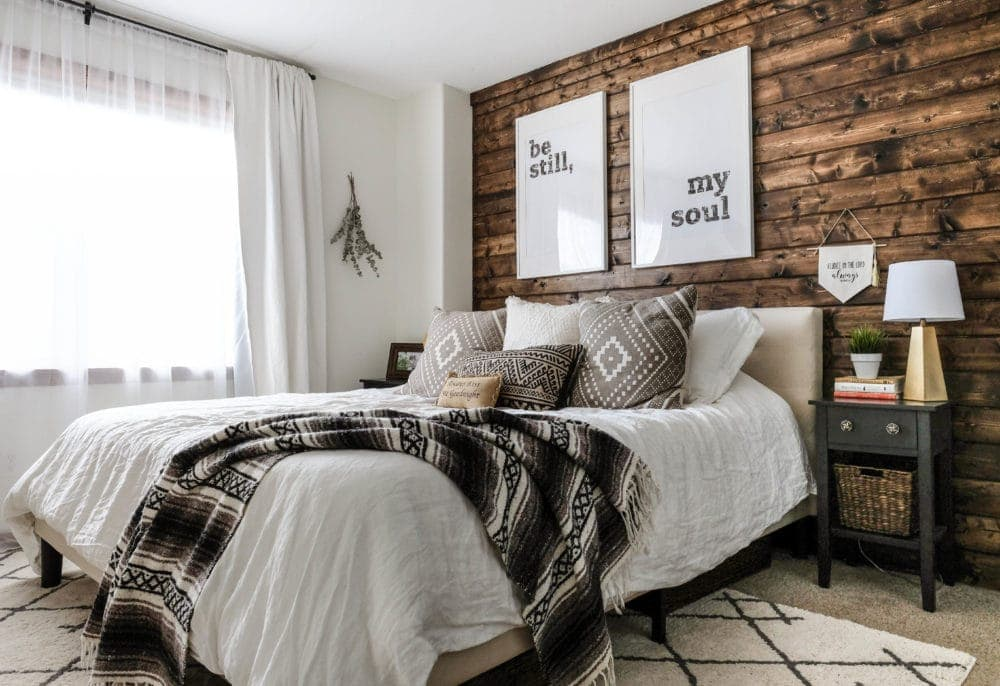 master bedroom wood accent wall