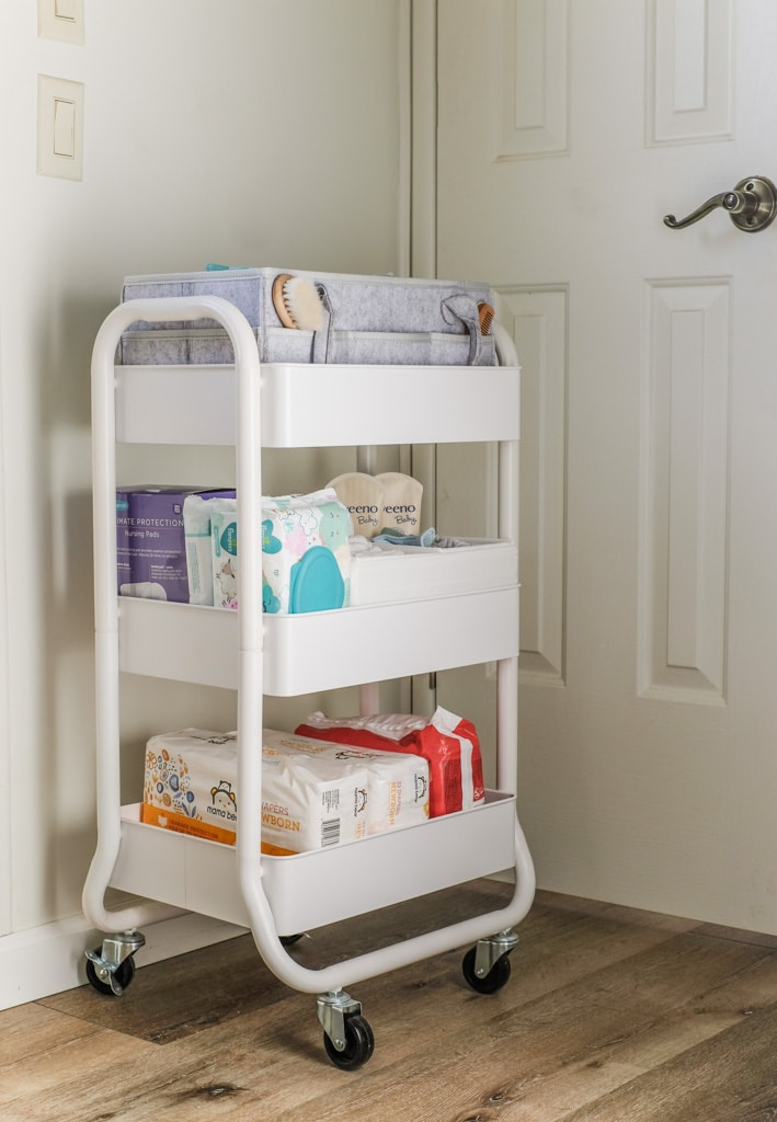 three tier utility cart for storing baby supplies