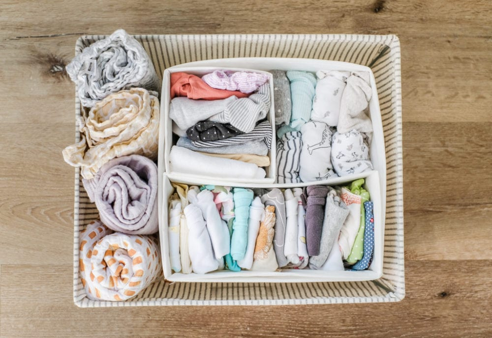 baby clothes storage basket with organizational dividers