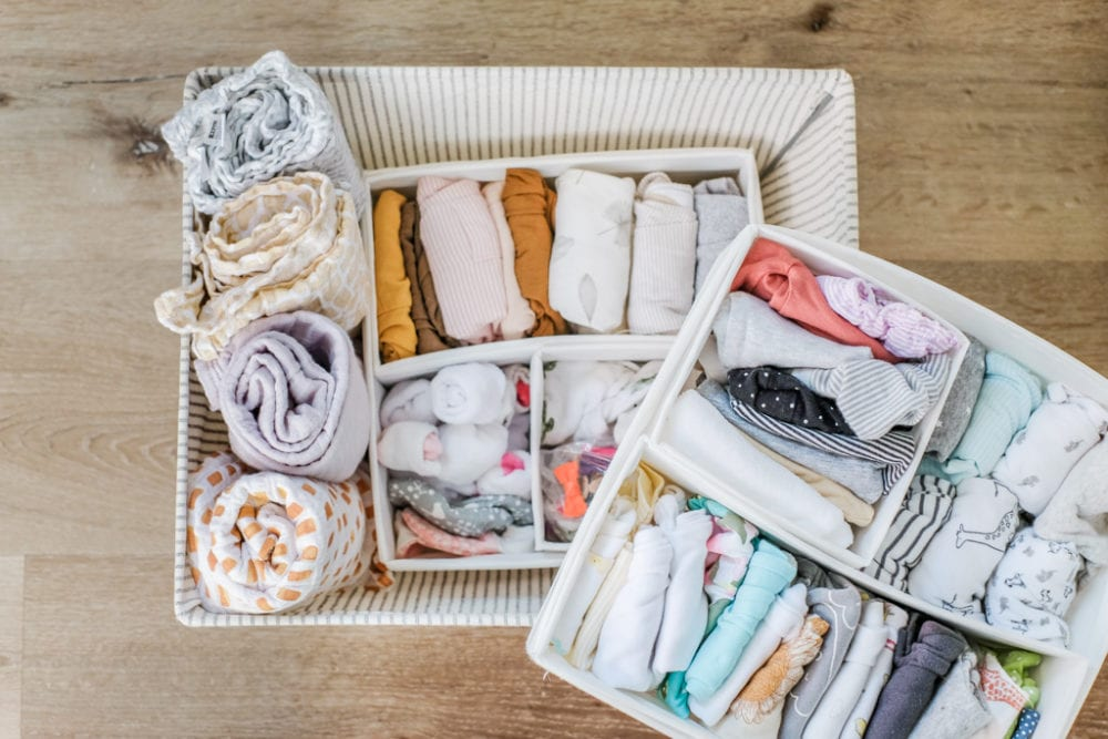 storage basket dividers for baby clothes organizing