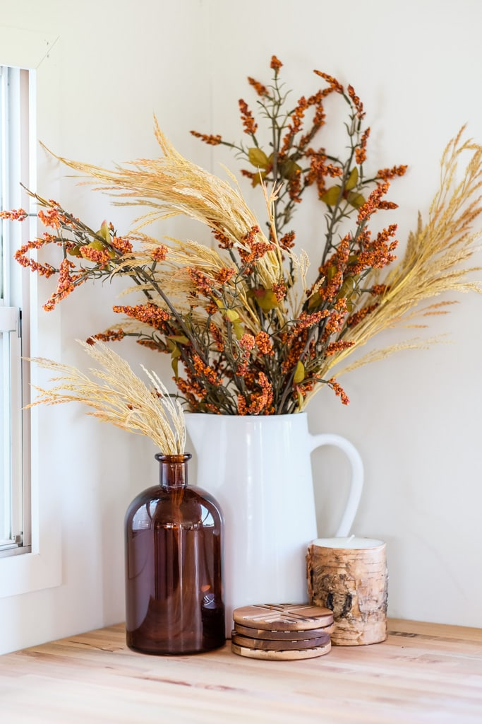 dried wheat in a vase as fall decor