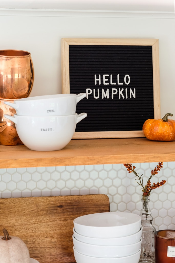 """HELLO PUMPKIN"" on letter board for fall decorating."