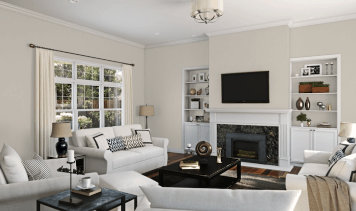 a living room painted with agreeable gray paint