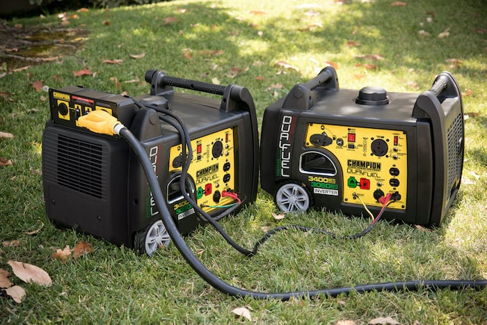 champion dual 3400 watt generators with a parallel kit