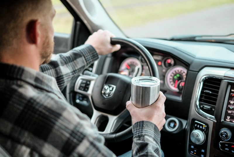 bring your own travel mug on a road trip