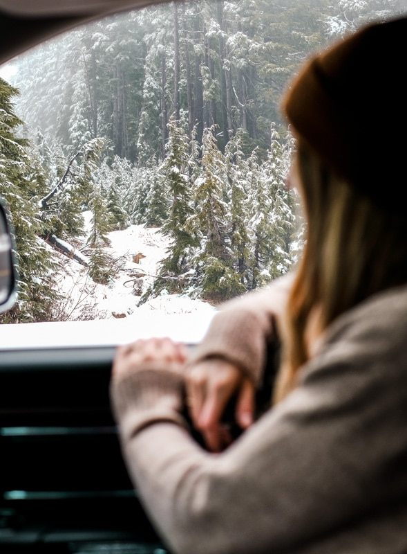 looking out the window on a holiday road trip
