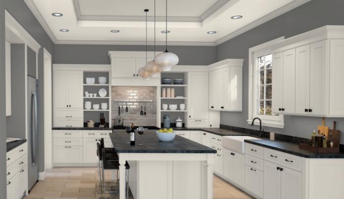 Kitchen with Summit Gray walls