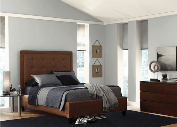 bedroom with Silver City walls