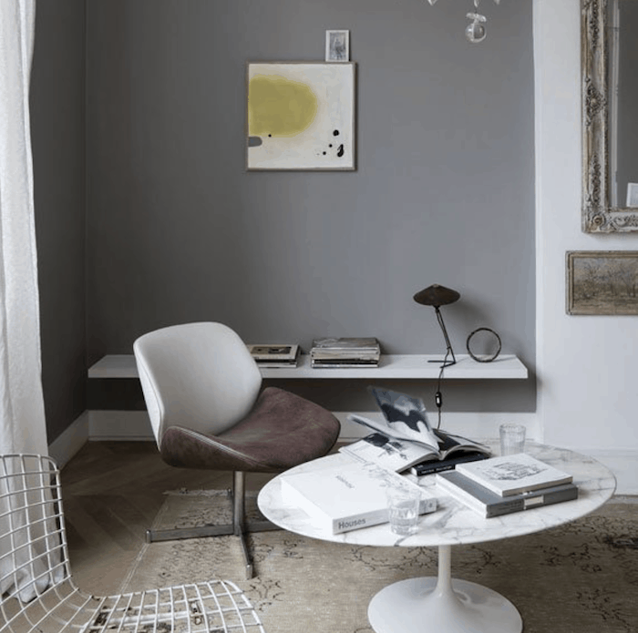 office with Worsted (No. 284) Gray walls by Farrow and Ball