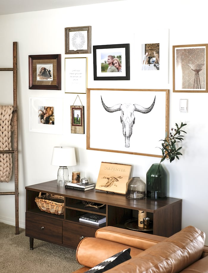 gallery wall in a living room