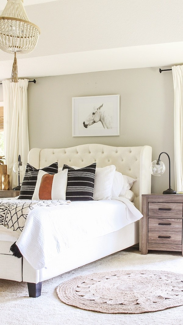 bedroom painted with Repose Gray paint