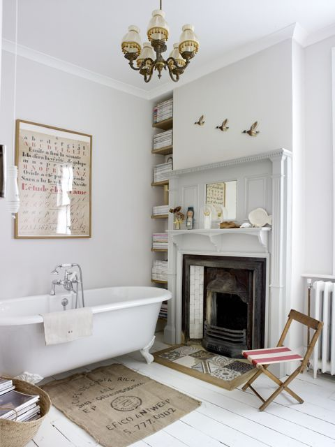 bathroom with Strong White painted walls