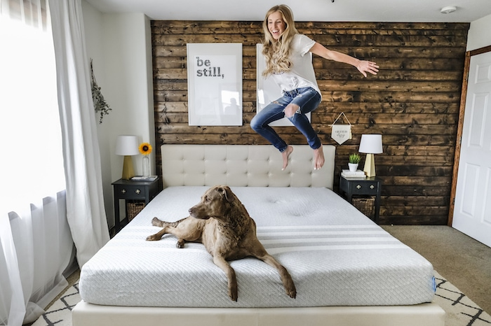 Jumping on the Leesa Original Mattress